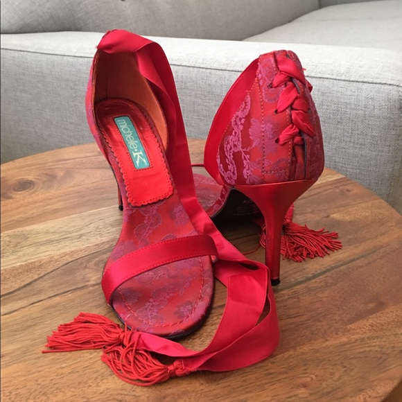 ad17407358f Red Satin Strappy Heels ❤️